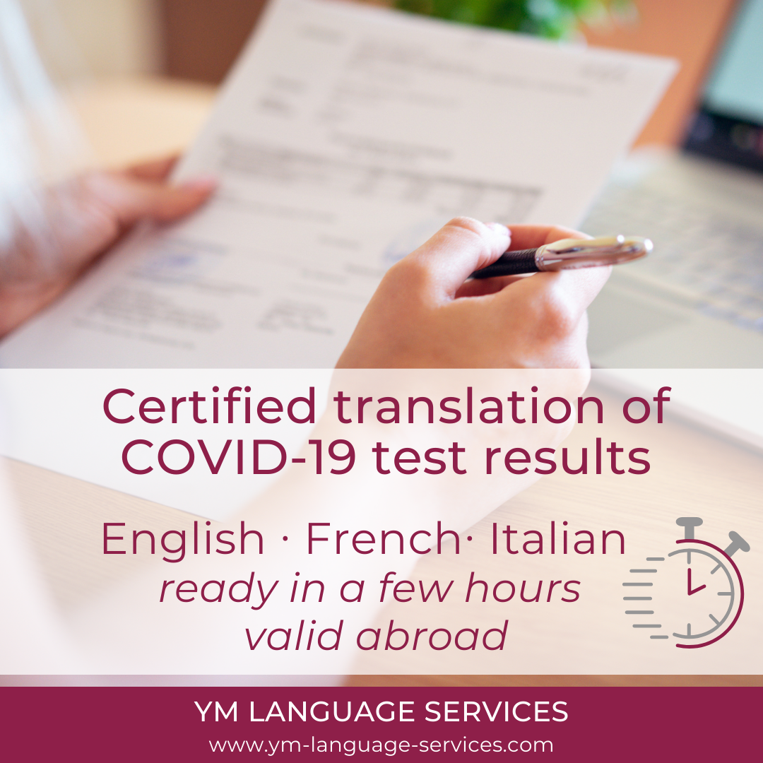 Certified translation COVID-19 test_YM LANGUAGE SERVICES