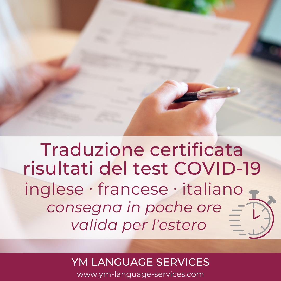 Traduzione risultati del test COVID-19_YM LANGUAGE SERVICES